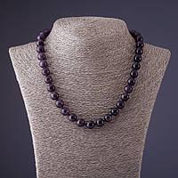 Бусы камень Аметист фиолетовый шарик d-10мм L-45см