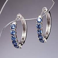 """Серьги Хьюпинг цвет светло голубые камни """"серебро""""  L-1,8см"""