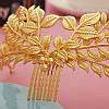 Корона ЗЛАТА гребінь діадема Тіара Вікторія модна прикраса для волосся, фото 5