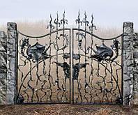 Ворота металлические резные кованые