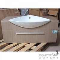 Уценённая сантехника Мебель и зеркала для ванной комнаты Тумба подвесная с раковиной EAGO PC125 FA-2 цвет белёный дуб (уценка)