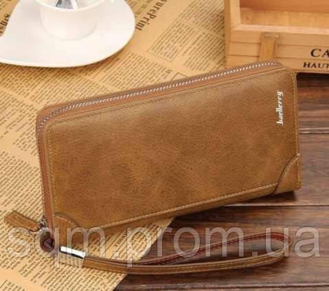 fb40ea9d1e1a Стильный мужской клатч портмоне BAELLERRY замшевая версия  светло-коричневого цвета