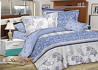 """Красивый постельный комплект двуспальный Евро из сатина """"Мармелад""""."""