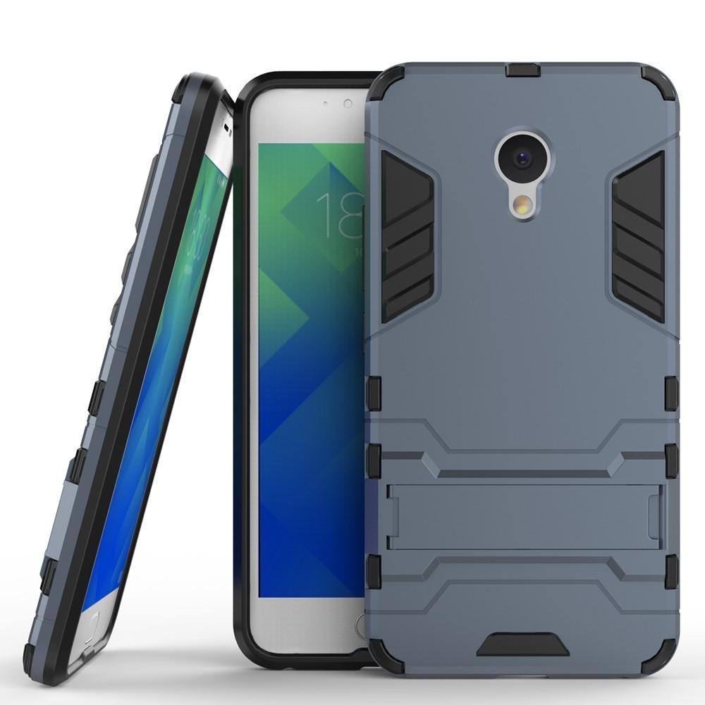 Чехол накладка для Meizu M5 противоударный силиконовый с пластиком Alien, с подставкой, Темно-синий