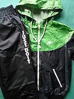 Детский Спортивный костюм унисекс плащевка на сетке Размеры 34, 36, 38 Зеленый