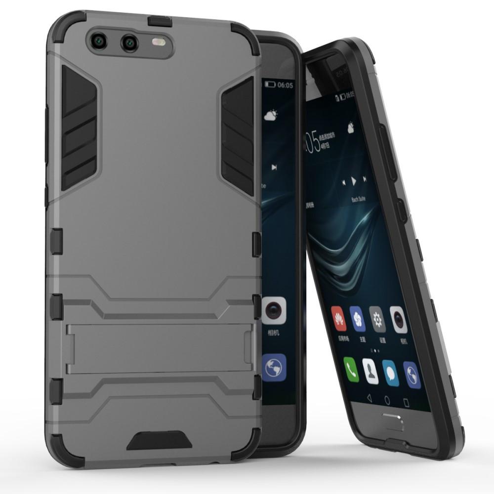 Чехол накладка для Huawei P10  противоударный силиконовый с пластиком Alien, серый