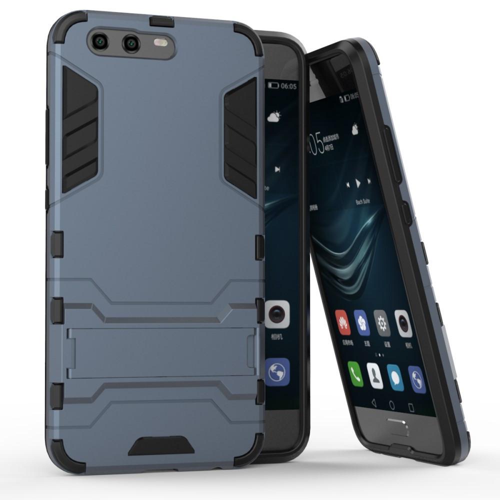 Чехол накладка для Huawei P10  противоударный силиконовый с пластиком Alien, темно-синий