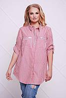 Хлопковая рубашка Блу р. 54-60 красная полоска