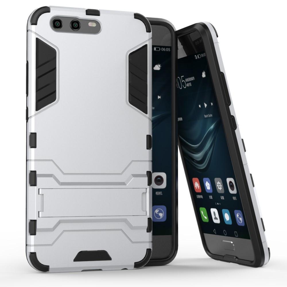 Чехол накладка для Huawei P10  противоударный силиконовый с пластиком Alien, серебристый