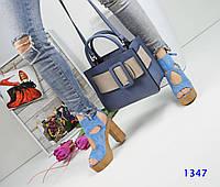 Женские босоножки на платформе, замшевые, каблук 12 см, голубые / высокие босоножки женские, удобные