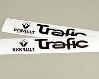 Наклейки на порожки (БЕЛО-ЧЁРНЫЕ) матовые на Renault Trafic II 2001->2014 — Украина - TN107M