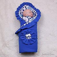 "Летний конверт-одеяло на выписку ""Богемия"" синий, фото 1"