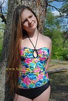 Оригинальный молодежный купальник майка с шортами модель 16676
