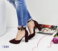 Женские босоножки на каблуке 9.5 см, натуральная замша, марсала / босоножки женские с закрытой пяткой, модные