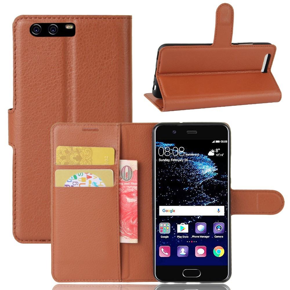Чехол книжка для Huawei P10  боковой с отсеком для визиток, коричневый
