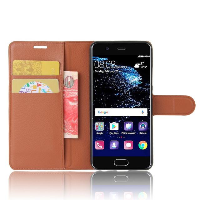 чехол книжка на Huawei P10 коричневый