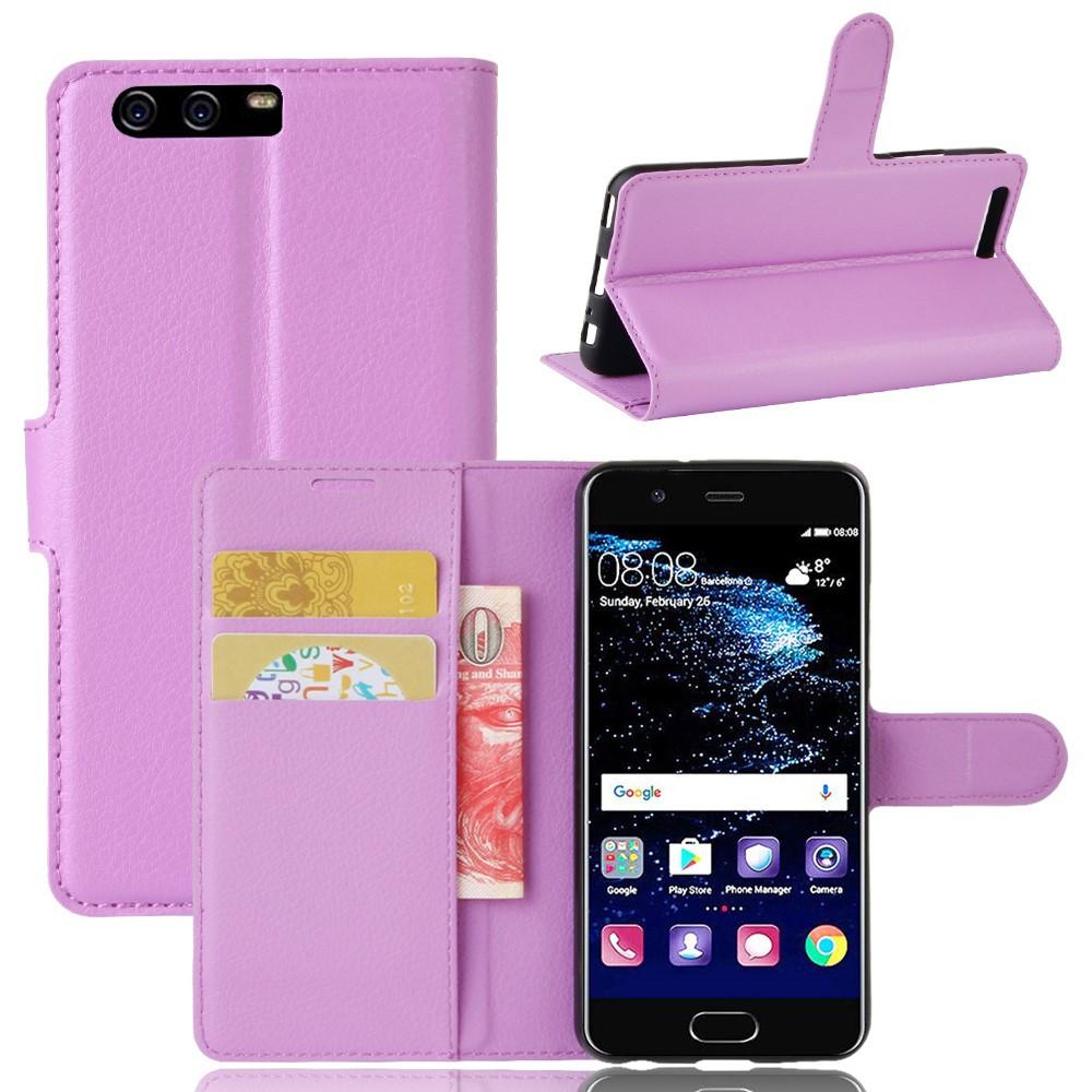 Чехол книжка для Huawei P10  боковой с отсеком для визиток, фиолетовый