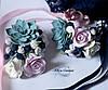 """""""Черника с розами и суккулентом""""(бутоньерка+браслет) Свадебный комплект украшений из полимерной глины"""