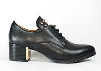 Туфли с шипами на устойчивом каблуке. Натуральная кожа 1035