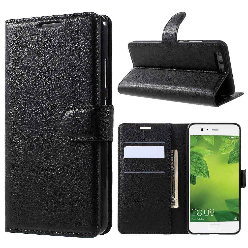 Чехол книжка для Huawei P10  боковой с отсеком для визиток, черный