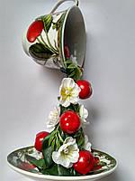 """Оригинальный подарок на 8 Марта - Чашка парящая """" Вишневая """" декорированная ."""