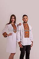 Парні вишиванки.Сукня жіноча + сорочка чоловіча МВ-122пс білий d2be237bcb372