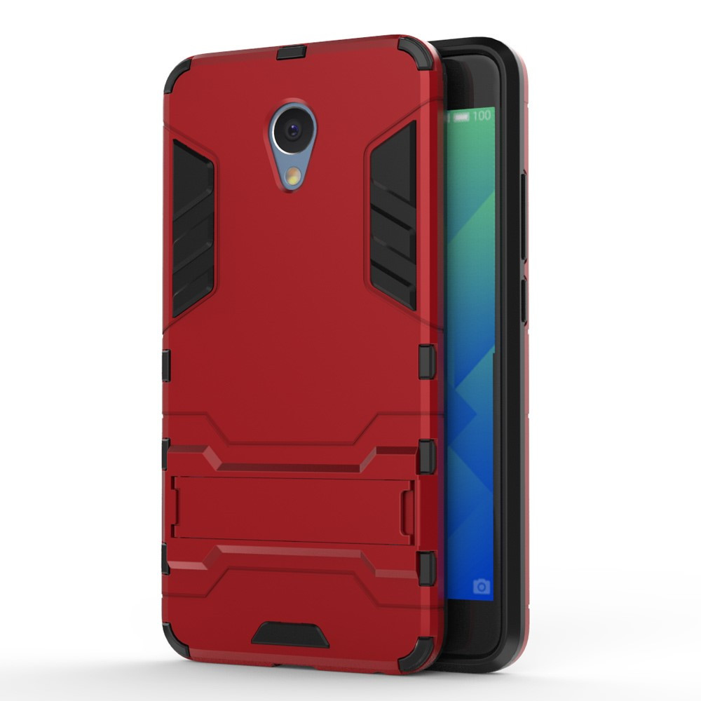 Чехол накладка для Meizu M5 Note противоударный силиконовый с пластиком Alien, с подставкой, Красный