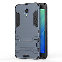 Чехол накладка для Meizu M5 Note противоударный силиконовый с пластиком Alien, с подставкой, Темно-синий