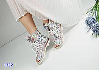 Женские летние ботинки, натуральная кожа, каблук 3 см / ботинки  женские с открытым носком, стильные