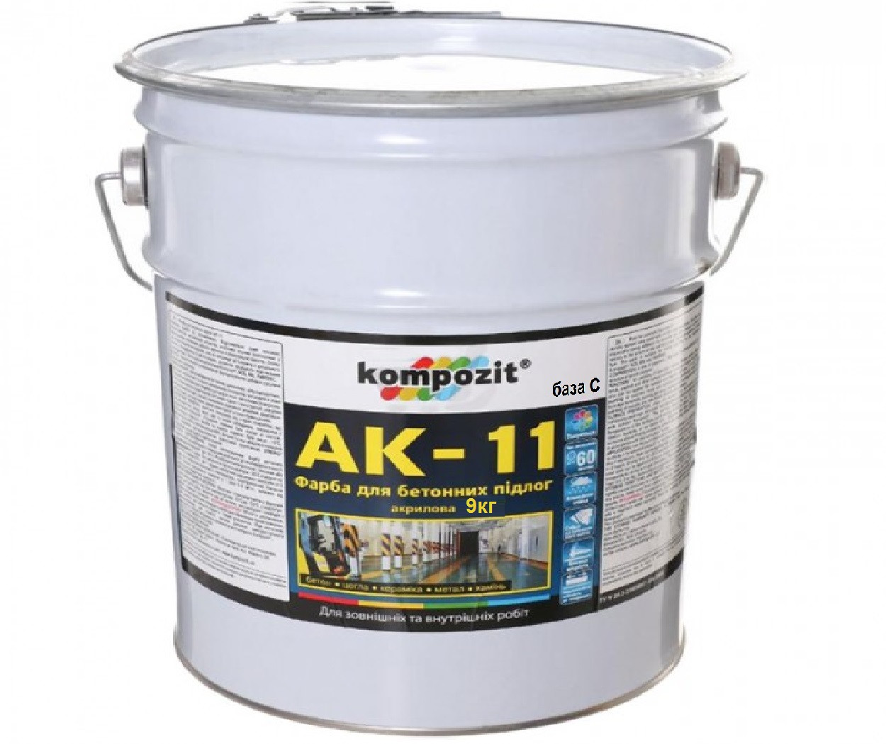 """Краска акриловая KOMPOZIT АК-11 для бетонных полов транспарентная-база """"С"""" 9кг"""