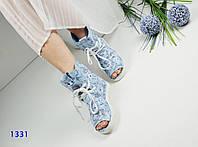 Женские летние ботинки, натуральная кожа, каблук 3 см, голубые / ботинки  женские с открытым носком, модные