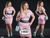 Платье с вырезом капелька на широком поясе