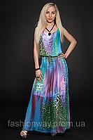 Летнее шифоновое платье, женское платье в пол