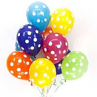 Воздушный шар в горошек 30 см ассорти