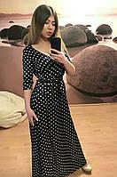Женское длинное черное платье на запах в горох