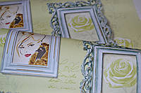 Обои бумажные, картины, рамки, девушка, светлый, салатовый, Белина 1252, 0,53*10м