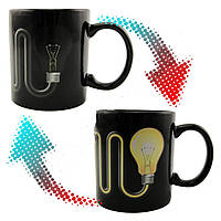 Кружка-чашка хамелеон Лампочка со шнуром черная