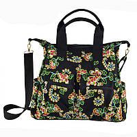 Черная женская сумка с вышивкой