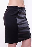 Женская юбка - мини из экокожи с вставками французского трикотажа