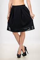 Женская юбка - колокол со вставкой из кожзама