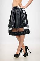 Женская юбка - колокол  из кожзама со вставкой - фатином