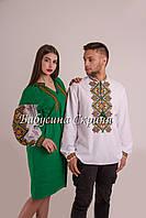 Парні вишиванки.Сукня жіноча + сорочка чоловіча МВ-114пс 10477bc586b2f