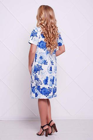 Классическое платье больших размеров Адель голубое, фото 2