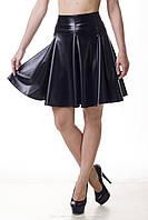 Модная женская юбка - клеш (солнце) из искусственной кожи (экокожа)