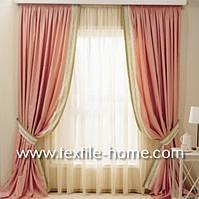 Розовые однотонные шторы с кантом