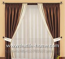 Комбинированные коричневые шторы