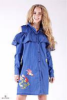 Джинсовое платье-рубашка с воланами, открытые плечи