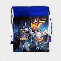 Детская сумка-рюкзак для сменной обуви Бетмен и Спайдермен