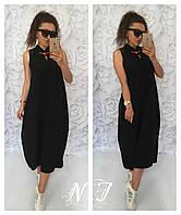 Платье миди свободное без рукава с воротничком стойка 155 (НР) Норма