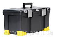 """Ящик для инструмента 22"""", пластмассовый с органайзерами, лотком и алюминиевыми замками, Stanley 1-97-512."""